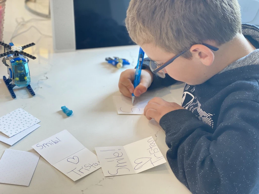tristan writing cards